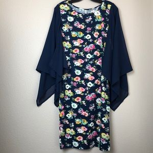 Dresses & Skirts - Floral Dress with Sheer Sleeves in Small NWT